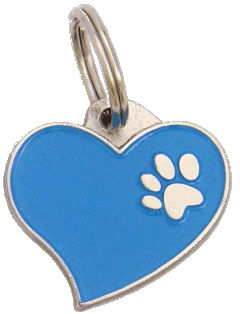 HEART BLUE - pet ID tag, dog ID tags, pet tags, personalized pet tags MjavHov - engraved pet tags online